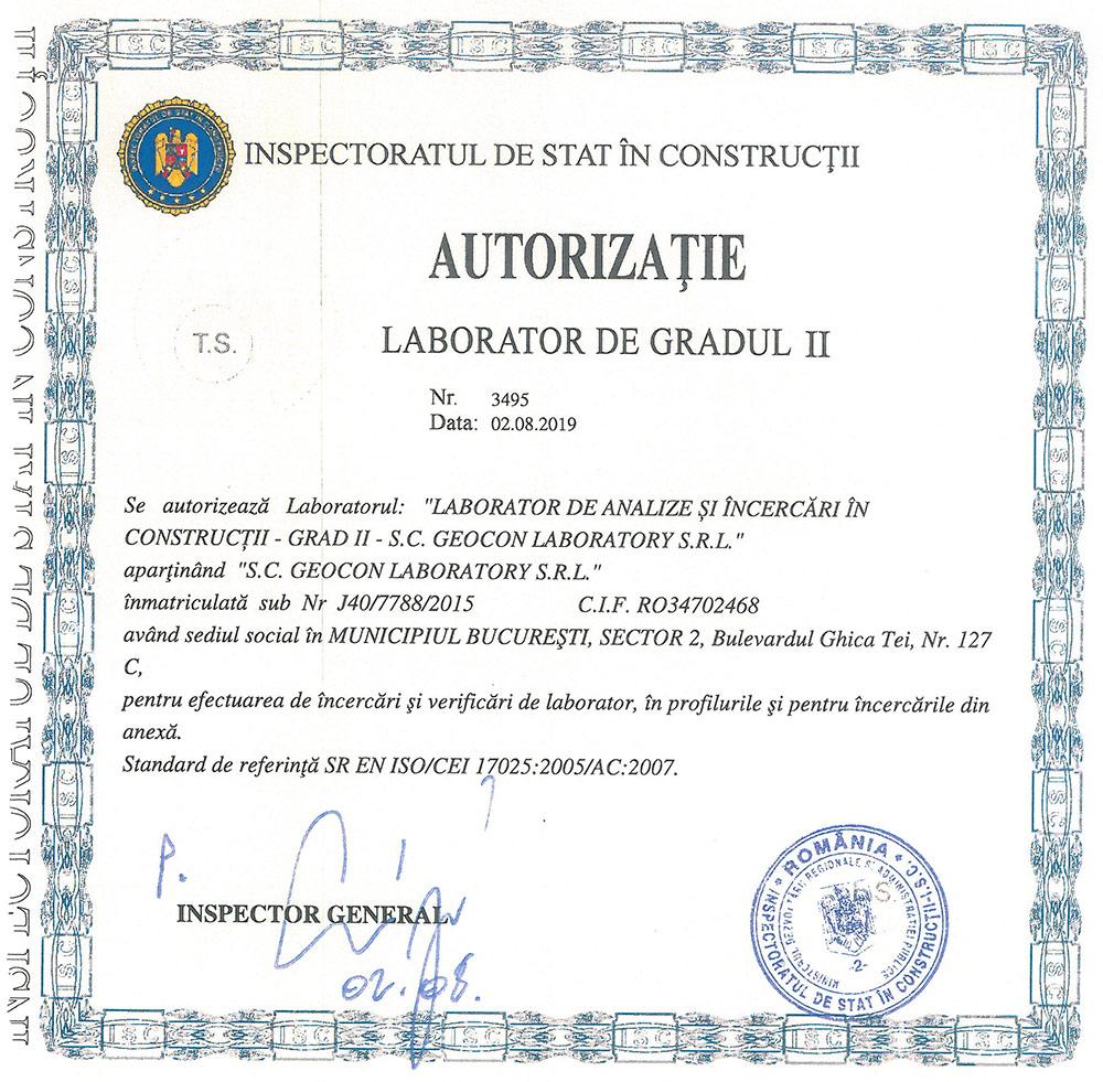 Autorizație Laborator Grad II nr. 3495/02.08.2019